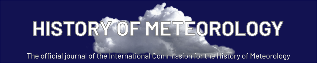 Text, History of Meteorology, over the image of a cloud